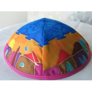 Silk Painted Kippah Yair Emanuel of Jerusalem YAS