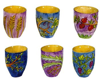 Set of 6 Wooden L'chaim Cups