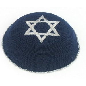16 Centimeter Blue Knitted Kippah