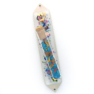 Celestial Frosted Wedding Glass Shards Mezuzah