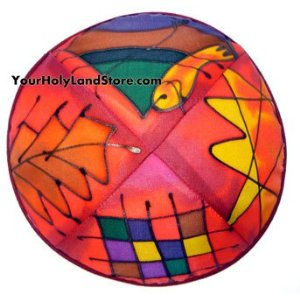 Silk Painted Jewish Kippah