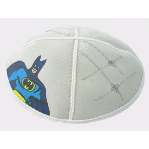 Suede Kippot with Colourful Batman Design