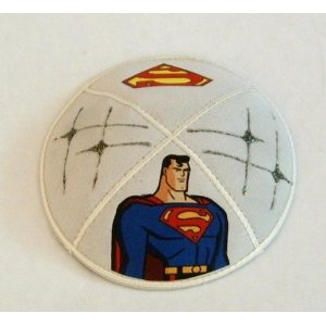 Suede Kippot with Colourful Design of Superman