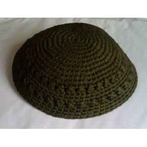 Knitted Olive Green Kippah
