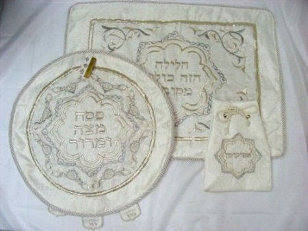 Silver Hand Embroidered Matzah Set with pillow
