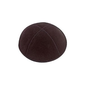 Black Suede Leather Four Panel Yarmulka Kippah