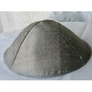 Grey Raw Silk Kippa Yair Emanuel of Jerusalem