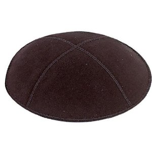Black Suede Leather Four Panel Kippah Yarmulkah Ya