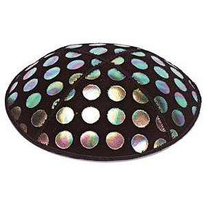 Foil Embossed Suede Kippah - Large Dots