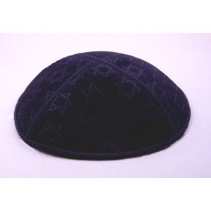 Navy Blue Suede Kippot with Embossed with Star of