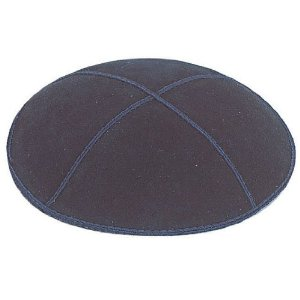 Navy Blue Suede Leather Four Panel Kippah Yarmulka
