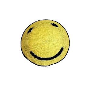 Yellow and Black Knit Smiley Face Kippah