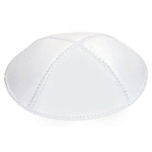 Pure White Shiny Leather Kippah for Weddings